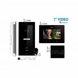 "Kit Video7"" Smart+ negru 1 familie, panou incastrat, Electra"